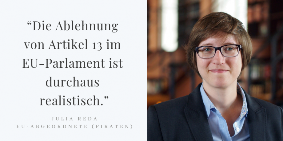 """Julia Reda über die Urheberrechts-Reform: """"Die Ablehnung von Artikel 13 ist realistisch"""""""