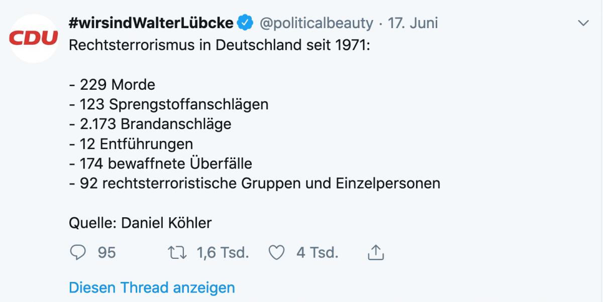 Tweet mit Auflistung der rechtsextremen Gewalttaten seit 1970