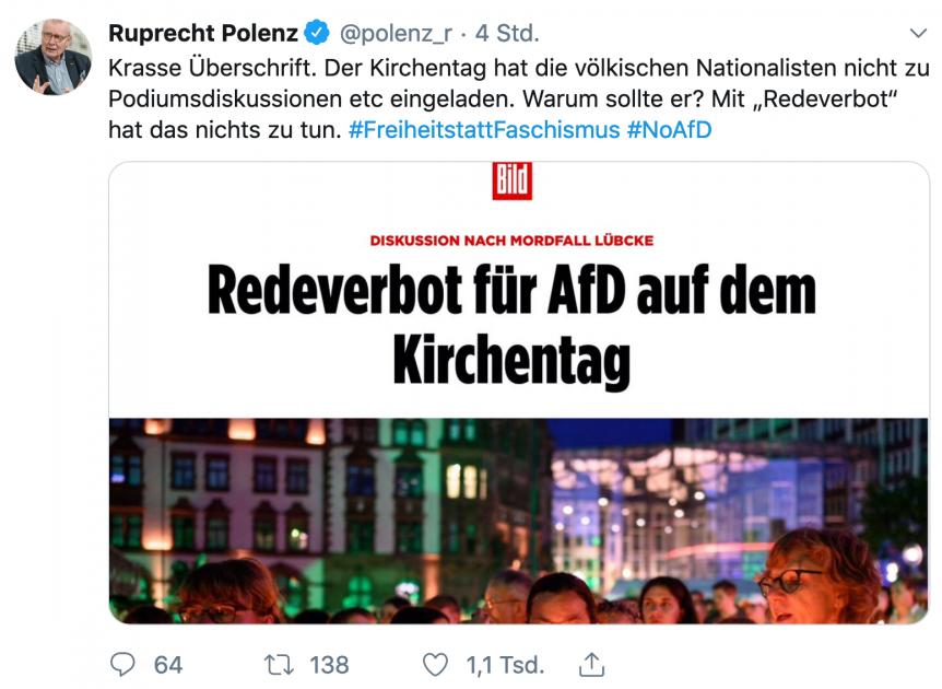"""Ruprecht Polenz beschwert sich über Bild-Schlagzeile zum angeblichen """"Ausschluss"""" der AfD beim Kirchentag."""